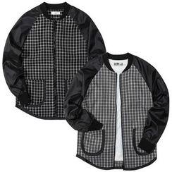 Seoul Homme - Raglan-Shoulder Zip-Up Checked Jacket