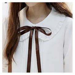 Sechuna - Peter Pan Collar Pintuck-Detail Blouse with Sash
