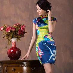 四小姐旗袍 - 蓋袖印花絲旗袍