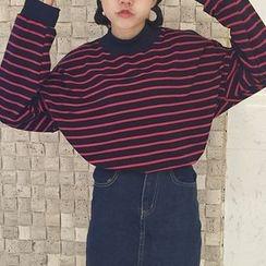 Cloud Nine - Heart Applique Stripe Sweatshirt