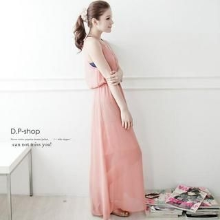 D.P-Shop - Open-Back V-Neck Chiffon Long Tank Dress