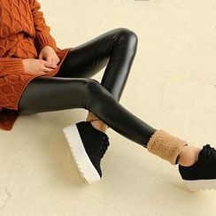 Munai - Fleece-Trim Faux-Leather Leggings