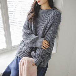 JUSTONE - Drop-Shoulder Cable-Knit Sweater