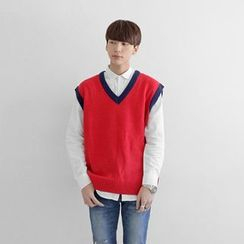 Seoul Homme - Color-Block V-Neck Vest