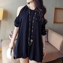 QZ Lady - Elbow-Sleeve Cutout-Shoulder Dress