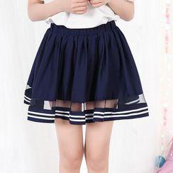 Fairyland - Mesh Insert Striped A-Line Skirt
