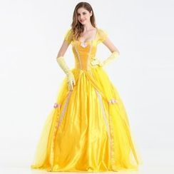 Cosgirl - Belle Cosplay Costume With Gloves