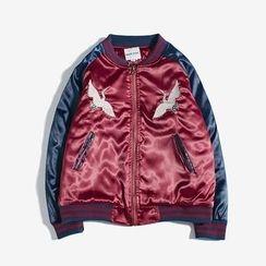 Dubel - Embroidery Raglan Baseball Jacket