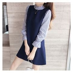 VIZZI - 長袖條紋A字連衣裙