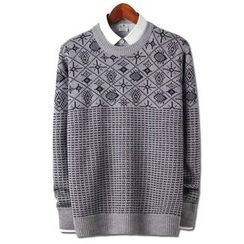 Seoul Homme - Snow-Flake Patterned Sweater