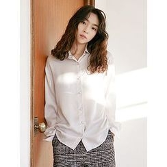 FROMBEGINNING - Loose-Fit Satin Blouse