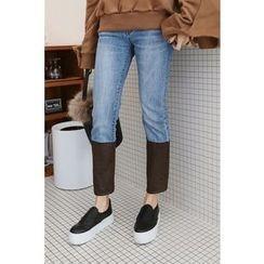 PPGIRL - Faux-Suede Trim Straight-Cut Jeans