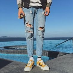 Soulcity - Cropped Ripped Jeans