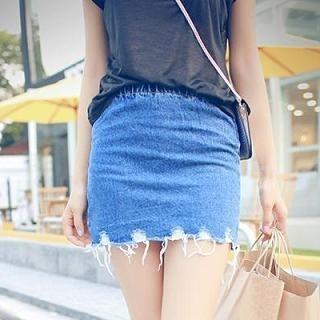 MISS BIG - Distressed Hem Denim Pencil Skirt