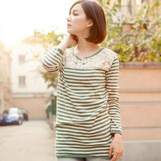 CatWorld - Crochet-Bib Striped Long Top