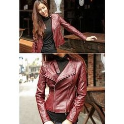 REDOPIN - Faux-Leather Rider Jacket