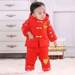 Snow Dragon - 童裝套裝: 連帽外套 + 長袖上衣 + 長褲