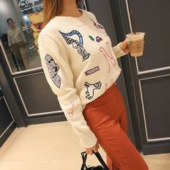 DABAGIRL - Crew-Neck Embroidered Knit Top