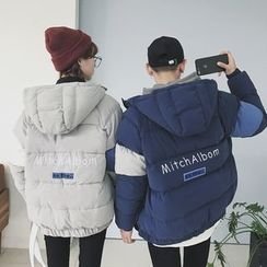 ZONZO - Couple Matching Letter Embroidered Color Panel Hooded Padded Coat