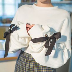chuu - Beribboned Oversized Cotton Pullover