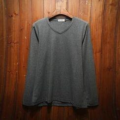 Belinsky - Plain V-Neck Long-Sleeve T-Shirt