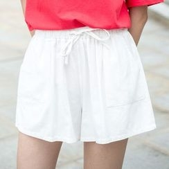 Sens Collection - Plain Frilled Wide-leg Shorts