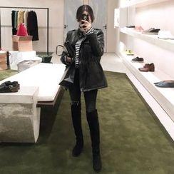 DISCOSALON - Faux-Leather Fleece-Lined Jacket