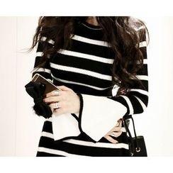 Marlangrouge - Striped A-Line Knit Mini Dress