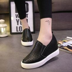 Charming Kicks - Star Perforated Hidden Wedge Slip-Ons