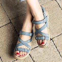 MIAOLV - Velcro Flat Sandals