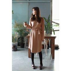 CHERRYKOKO - Round-Hem Shift Dress with Sash