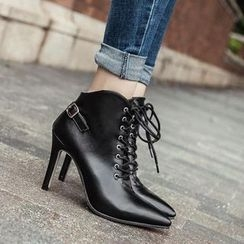 Niuna - Faux-Leather Lace-Up Ankle Boots
