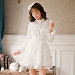 Candy Rain - Long-Sleeve Lace Plated Dress