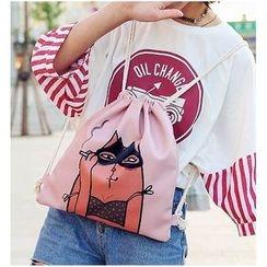 Aishang - Print Drawstring Backpack