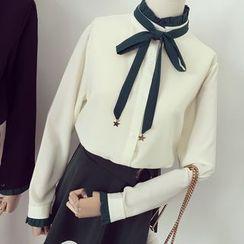 Honeydew - 皱摺边领结带雪纺衬衣
