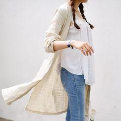 JUSTONE - Collarless Linen Blend Coat
