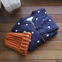 JUSTONE - Polka-Dot Zip-Up Cardigan