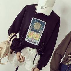 Honeydew - Appliqué Long Sleeve Lace-Up T-Shirt