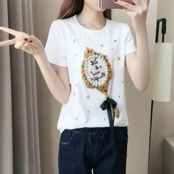 Cherry Dress - Letter Embroidered Embellished Short Sleeve T-Shirt