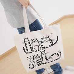 Aoba - Cat Printed Canvas Shopper Bag