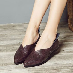 LARKSPUR - Embossed Genuine Leather Flats
