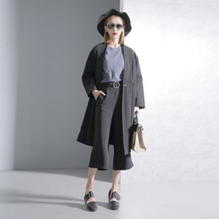 Sonne - 高腰剪接中长款风衣外套