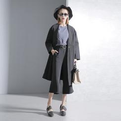 Sonne - 高腰剪接中長款風衣外套