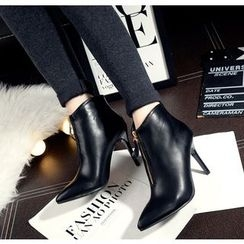 Monde - Pointed Zip High-Heel Ankle Boots