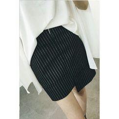 ATTYSTORY - Asymmetric-Hem Striped Skirt