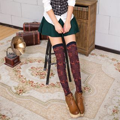 Abarana - Deer Print Over-The-Knee Socks