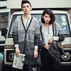 FULLHOPE - Gradient Long Couple Matching Knit Cardigan
