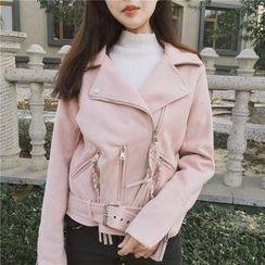 AMELA - Plain Biker Jacket