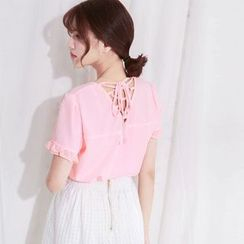 Tokyo Fashion - Lace-Up Back Short-Sleeve Top