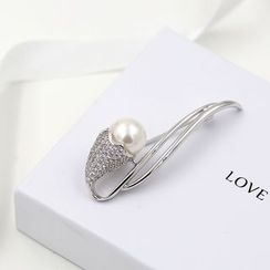 Love Generation - Faux Pearl Rhinestone Brooch